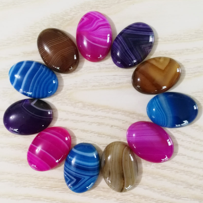 Fashion mixed Striped onyx natural stone beads for jewelry making charm 25X18MM cab cabochon Ring accessories 12Pc/lot No hole