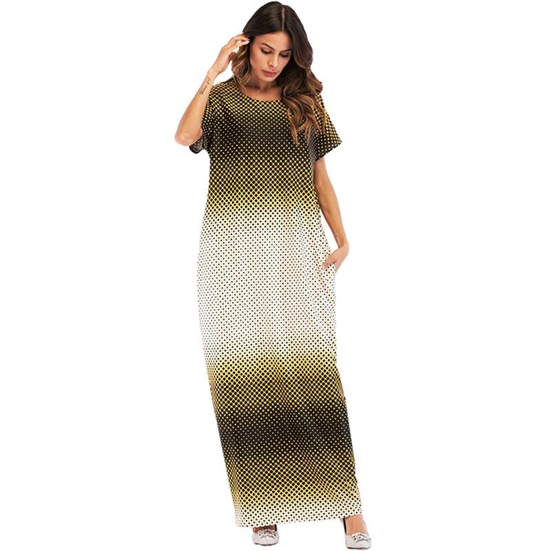 cee871d2687 Casual Short Sleeve Maxi Dress Muslim Dot Abaya Long Robe Gowns Kimono Loose  Style Jubah Ramadan