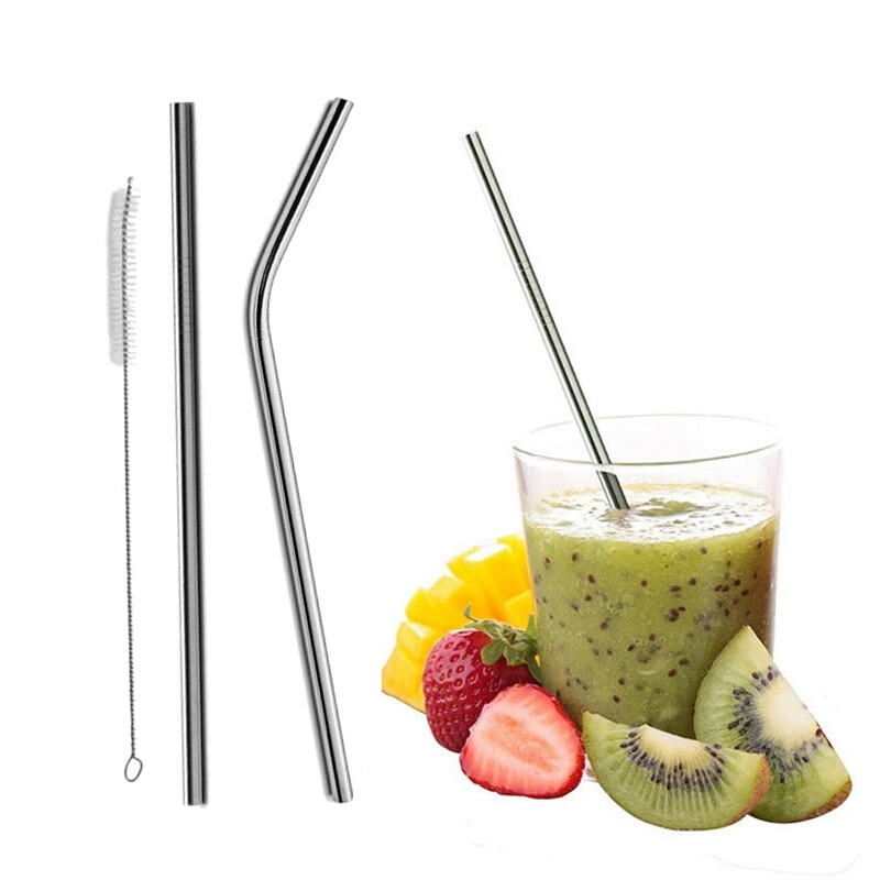 Reusable Bent Straight Stainless Steel Straws Metal Straw Cocktail Drinking Straw for 20oz 30oz Tumbler Party Bar Accessories (1)
