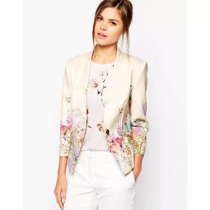 Design Femininos Autumn Spring Fashion Women Jackets Clothing Printing Long Sleeve Slim Small Blazer
