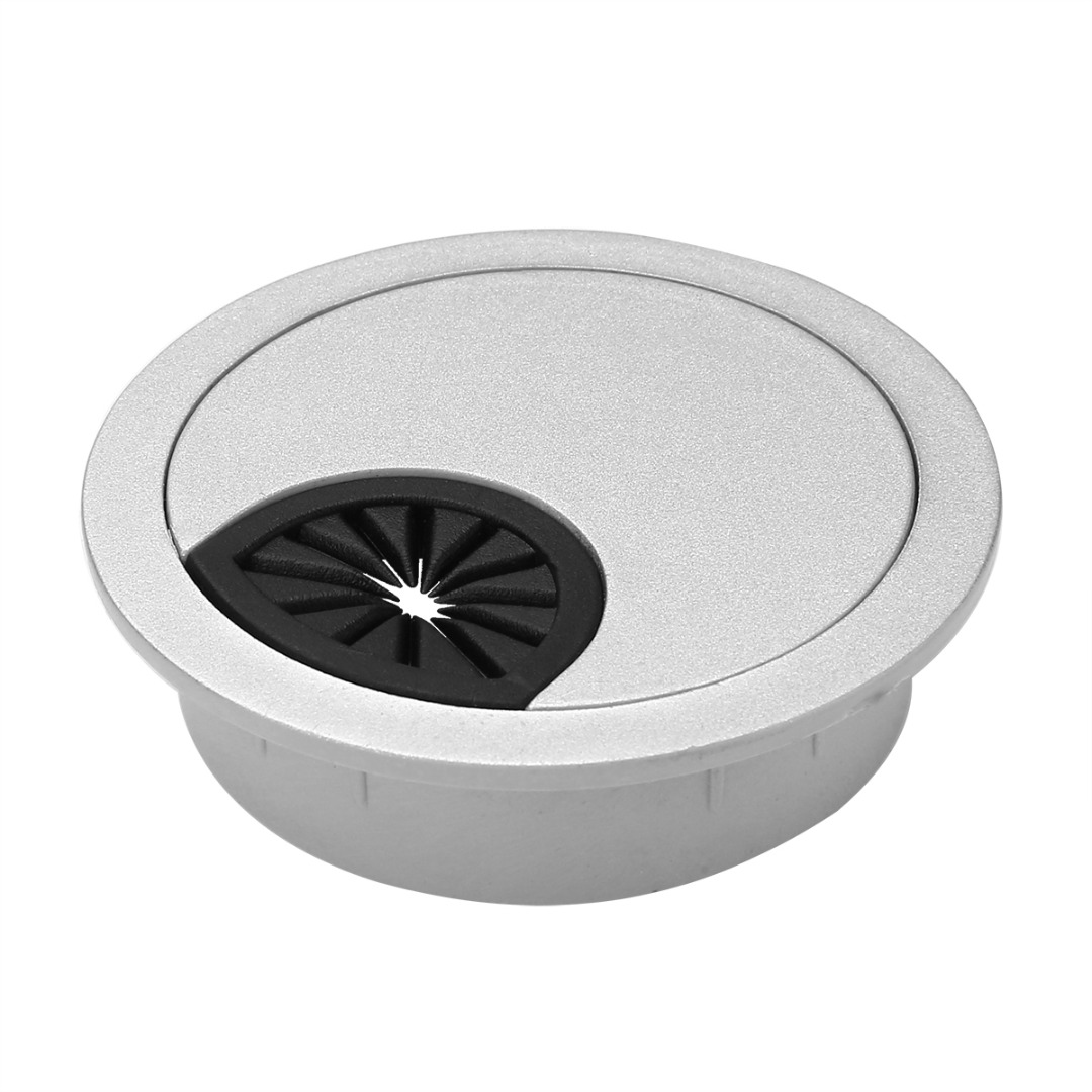 1pc 80mm Round Computer Pc Table Cable Wire Outlet Silver Desk Wiring 1pcs Plastic Port Hole Cover