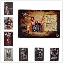 Ретро пивной бренд Джек Дэниэлс виски металлический плакат настенная живопись для бара паба домашний декор доска