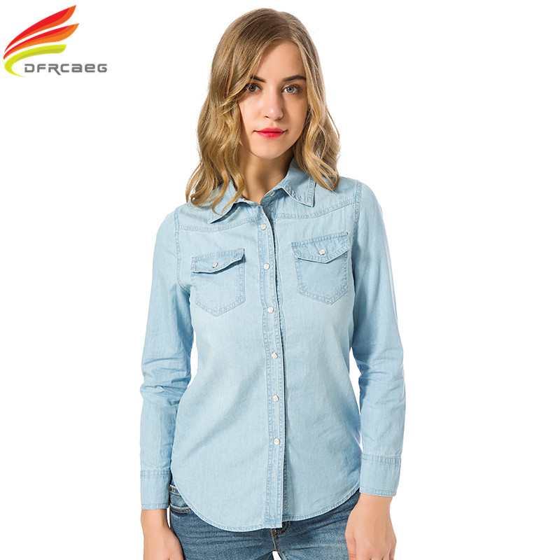 new 2018 spring woman denim shirt fashion style long