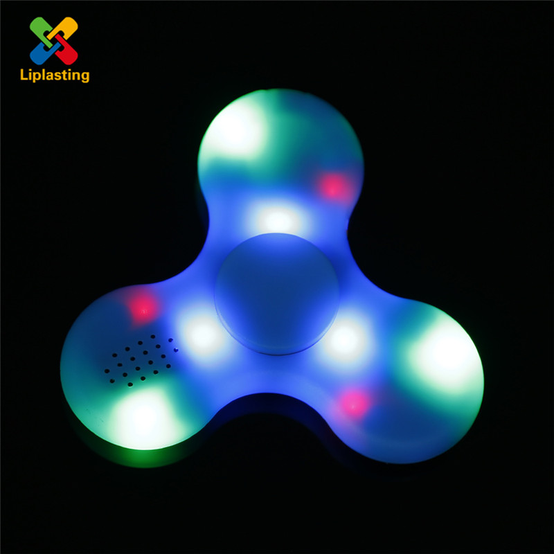 Liplasting Fidget Spinner LED Bluetooth Speaker Lights Tri Finger Spinning Top Decompression Toys Finger Toys for