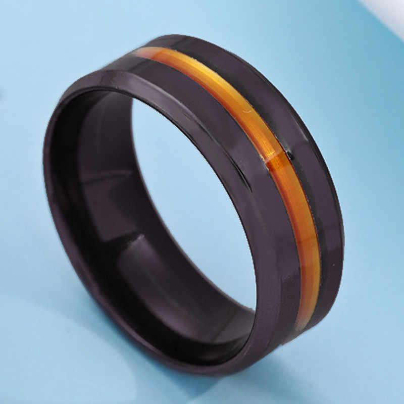 2019 novo groove anéis de aço inoxidável para as mulheres jóias preto anéis para homens casal anel de promessa de casamento anel feminino femme presentes