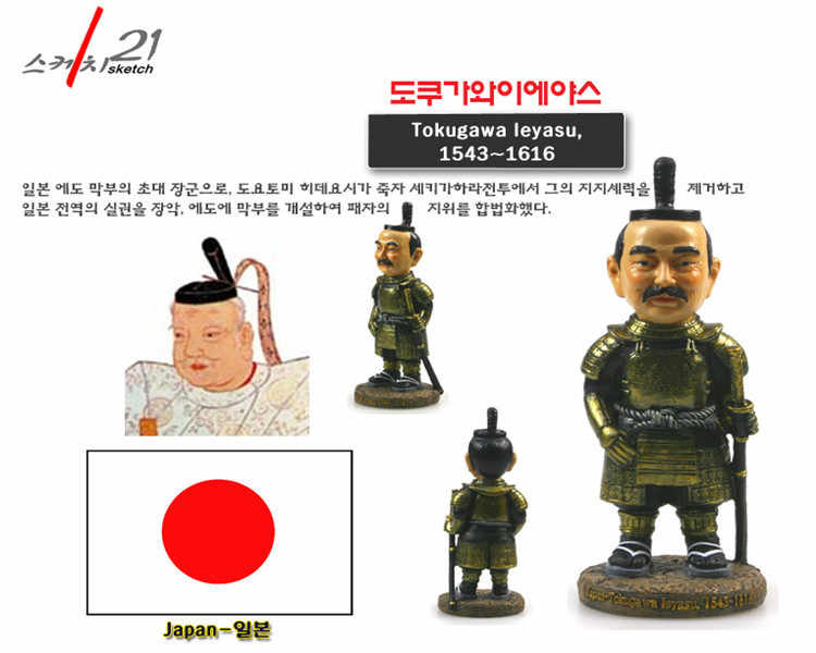 Hand-made Resin Crafts World Celebrities Japan Leyasu Tokugawa 2019 New Arrival Home Office Decoration Great Collection