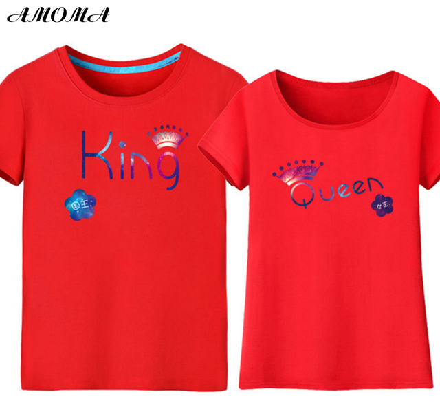 28d9c9ceb75f AMOMA Couple T-shirts For Lovers 3D Printed King Queen Summer Casual Tops  Tees Red