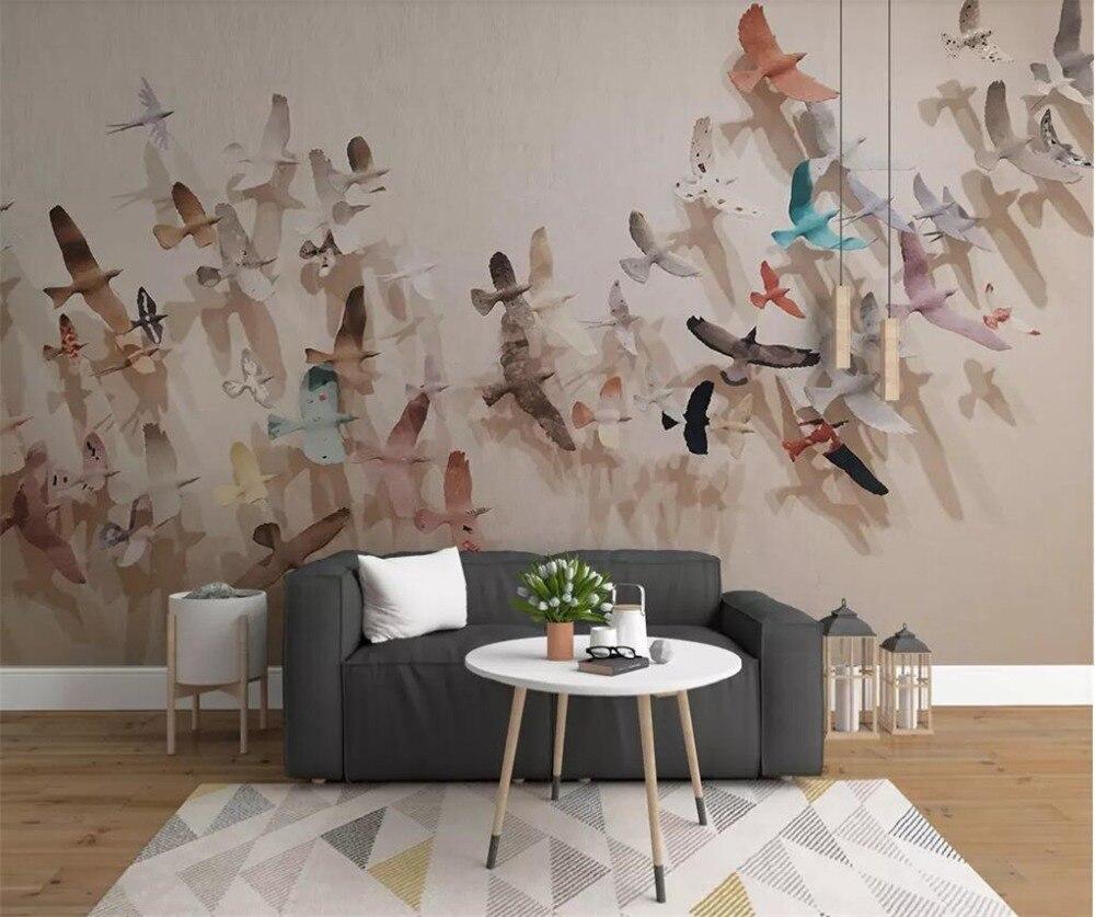 Beibehang Custom Wallpaper 3D Photo Mural Nordic Modern Simple 3d A Flock Of Birds Background Wall Paper Home Decor Papier Peint