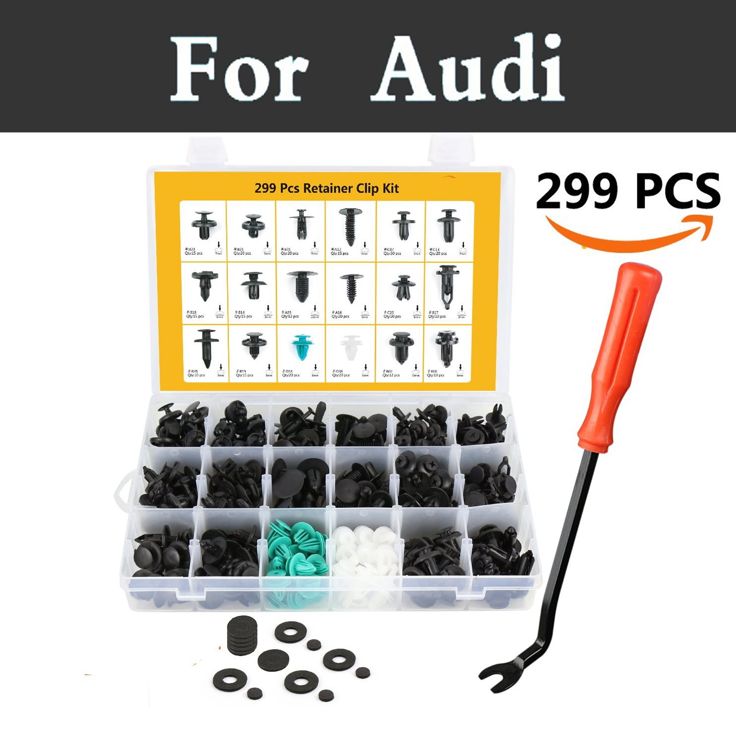 299pcs Car Fastener Remover Panel Trim Clips Kit,18 Most Popular Rivets For Audi A3 A4 A5 A6 A7a8 Q3 Q5 Q7 Body Clips