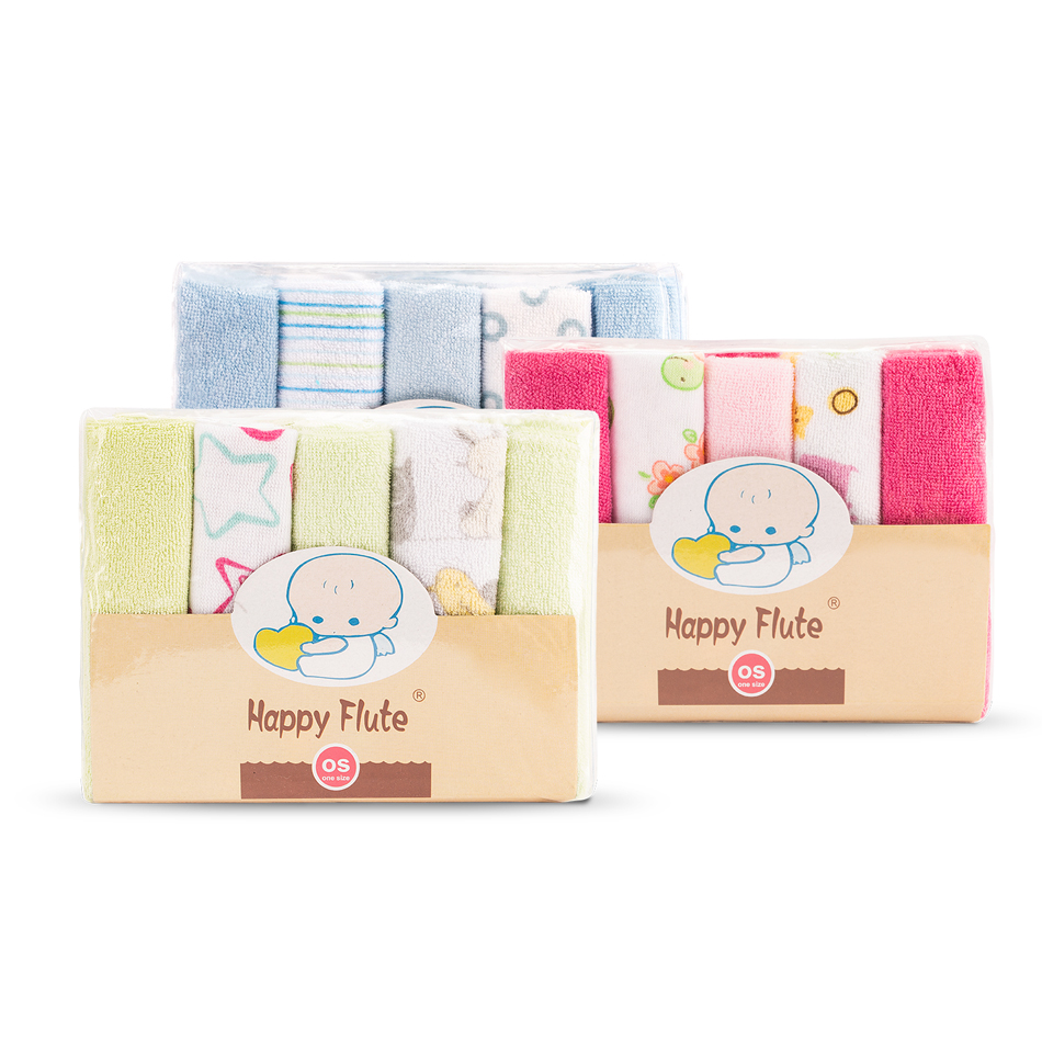 HappyFlute 10pcs/set Pack Baby Washcloths Small Baby Towel Wipes 23cmx23cm Soft Baby Wipes Random Colors Baby Feeding Towels