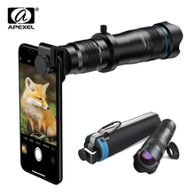 APEXEL optic phone mobile camera lens 36x telephoto telescope lens monocular+ selfie tripod for iPhone Huawei all Smartphones highpro 55mm 3 0x digital optic super high definition telephoto af lens filter black