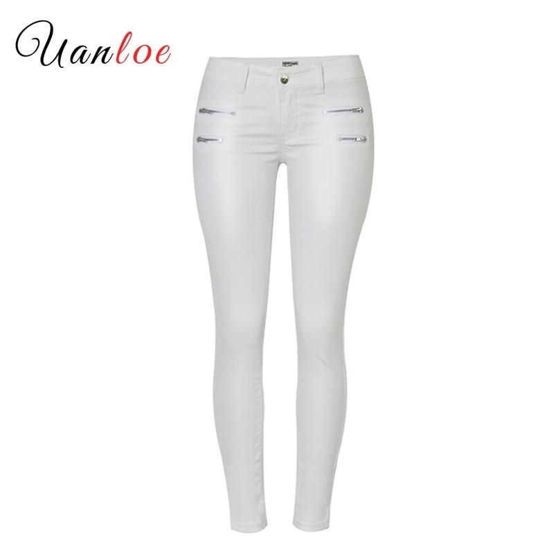 2019 Mid Waist Slim Body Stretch Pants Double Zipper Leggings PU White Coated Leather Imitation Skinny Pants Plus Size White