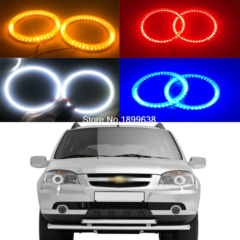 Super bright red blue yellow white 3528 smd led angel eyes halo rings car styling for Chevrolet Niva 2009-2013 polaris rzr 900 rzr 1000 xp set led headlight with halo rings angel eyes white red yellow green blue