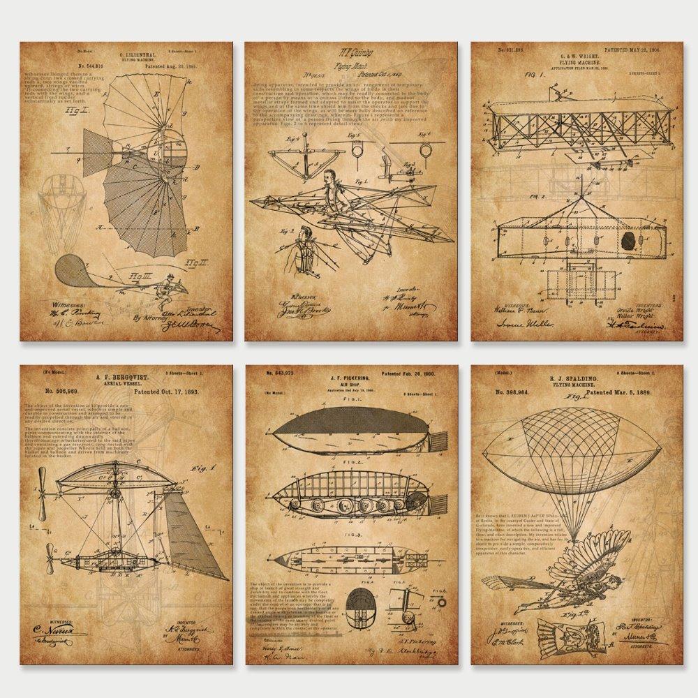 Vintage Earlier Flying Machine 1900 Patent Drawing Art Prints 6 In 1 Unframed Retro Wall Art Nursery Art Education  Art