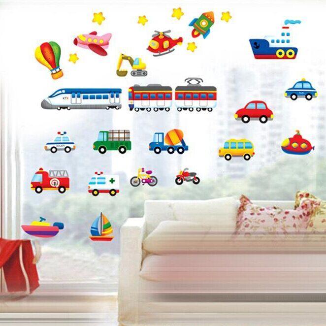 Cartoon Lkw Traktoren Autos Wand Aufkleber Kinder Zimmer Fahrzeuge Wand Decals Kunst Poster Foto Tapete Home Decor Wandbild Aufkleber