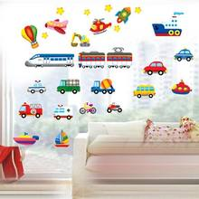 Cartoon Trucks Tractors Cars Wall Stickers Kids Rooms Vehicles Wall Decals Art Poster Photo Wallpaper Home Decor Mural Decal(China)