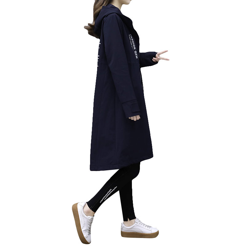 2018Spring Fashion Hooded womens windbreaker Large size loose Trench Womens Spring Trench Coat Autumn Fashion womens windbreaker