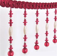 12m Ivory Bead Tassel Lace Curtain Trimmings Fringes Hanging Trim Sofa Curtains Accessories Decor