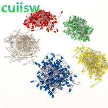 500 Pcs/lot 3 Mm LED Diode Kit Campuran Warna Merah Kuning Hijau Biru Putih