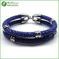 Charme Azul Super Fibra De Couro De Arraia com Gancho de Aço Inoxidável Fecho Pulseira de Prata Bangle para Mulheres Dos Homens Em Forma de Relógio