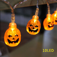 3D Pumpkin Lantern 10LED 20LED Halloween String Lights Yellow Color AA Battery Props Decorations Supplies Home