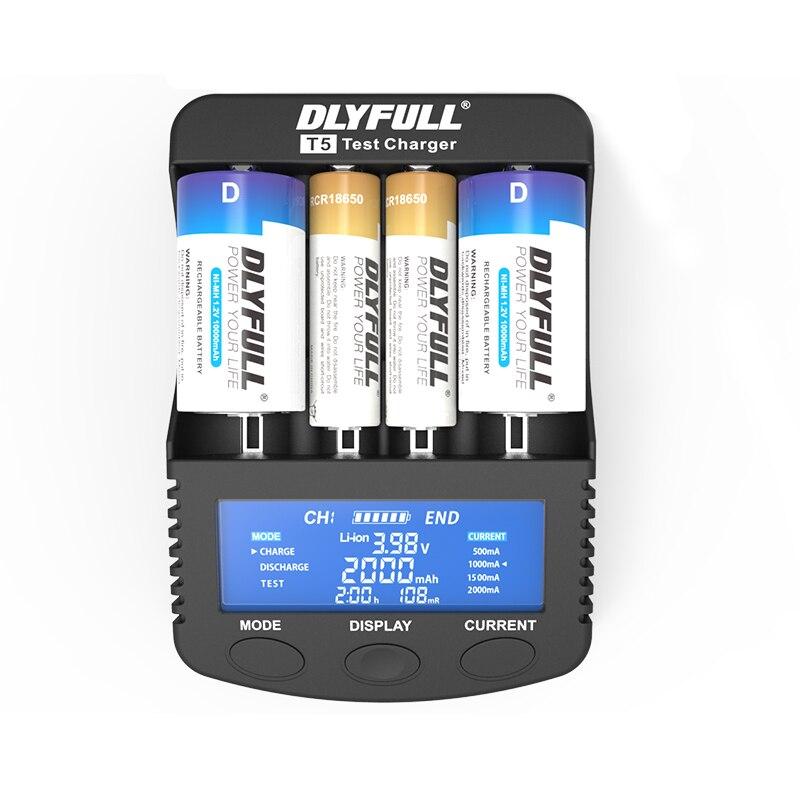 DLYFULL T5 Batterie Ladegerät für LCD 18650 14500 26650 32650 NiMH NICD EINE AA AAA AAAA C SC D mit power bank Schnelle Batterie Ladegerät