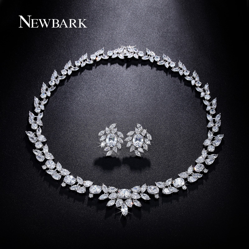 NEWBARK Luxury Zirconia Jewelry Sets Bijoux Mariage Oorbellen Hangers Choker Necklace Earrings Silver Bridal Jewellery