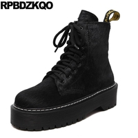 Shoes Muffin Military Harajuku Flat Lace Up Real Fur Platform Combat Black Horsehair Brand Women Winter Boots Genuine Leather