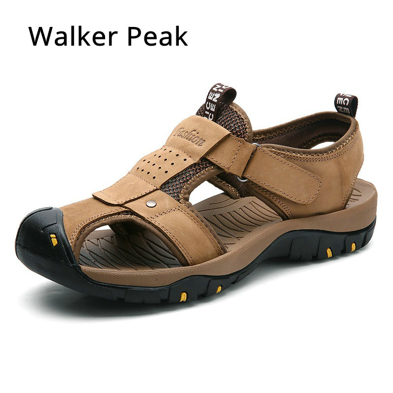 Size 38-46 Mens Sandals Genuine Leather Summer Shoes New Beach Men Casual Shoes Outdoor Sandals for man Walker Peak 2018