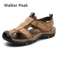 Size 38 46 Men's Sandals Genuine Leather Summer Shoes New Beach Men Casual Shoes Outdoor Sandals for man Walker Peak 2018