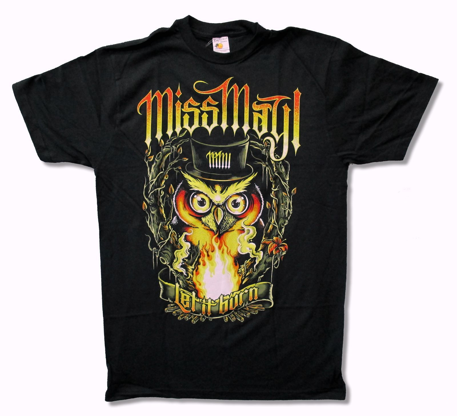 MISS MAY I OWL LET IT BURN BLACK T SHIRT NEW NWT OFFICIAL ADULT