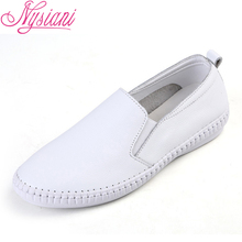2019 Spring Split Leather Women Loafers Shoes Brand Designer Round Toe Slip-on Casual White Single Nysiani