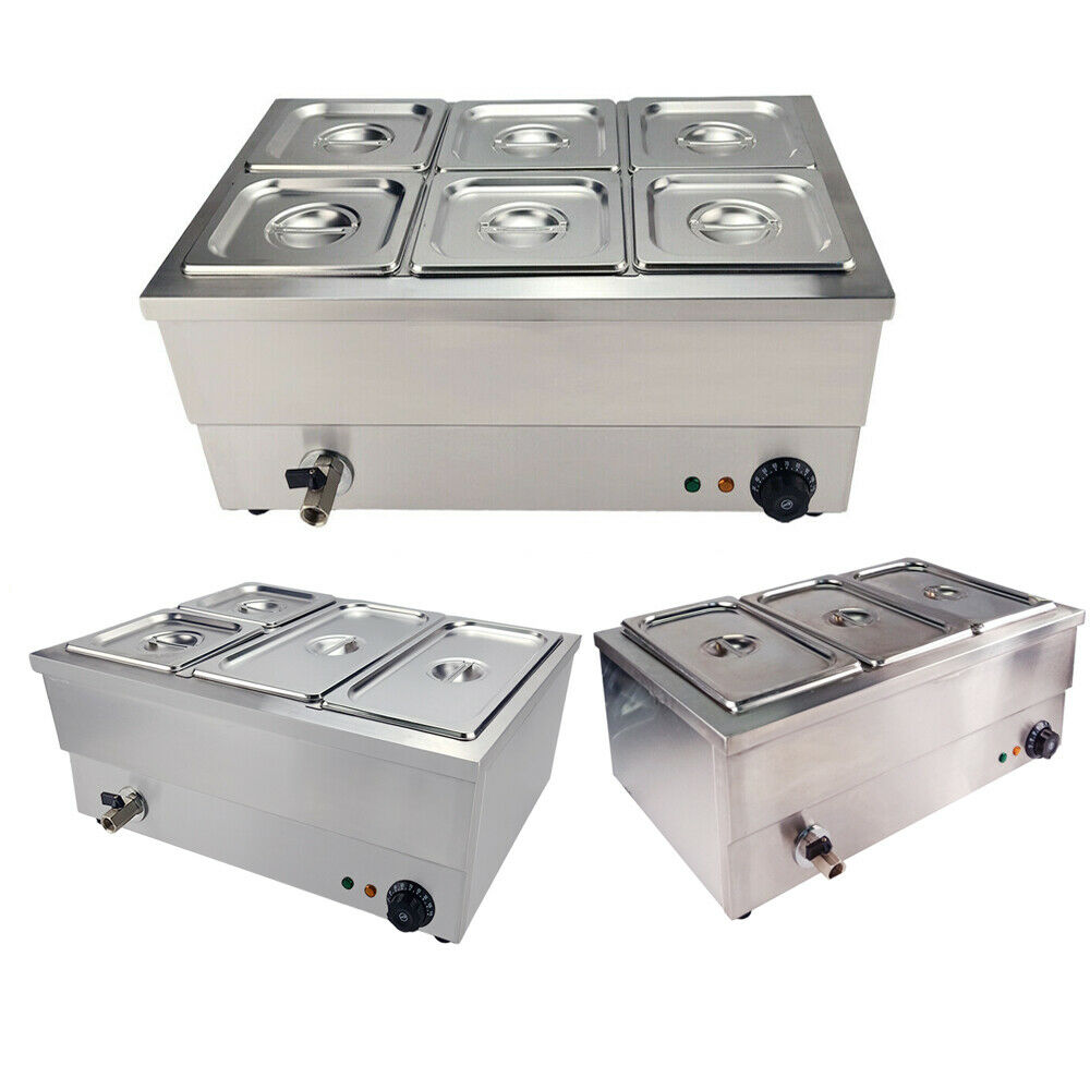 1500W Electric Bain Marie Catering Wet&Dry Heat Food Warmer Gastronorm Pan Lids