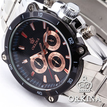 ORKINA Марка P0014 Роскошные Стальной браслет мужские Наручные Часы Японии Movt Кварцевые Часы Heren Horloge