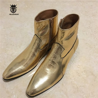 High End Exclusive Handmade Genuine Leather Golden Serpentine Pointed Toe Wedding Party Business Dress Boots