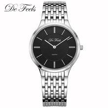 De Feels Classic Sapphire Glass Watch Men Ultra Thin Business Watches Mens Waterproof Stainless Steel Male Wrist watches Saat все цены
