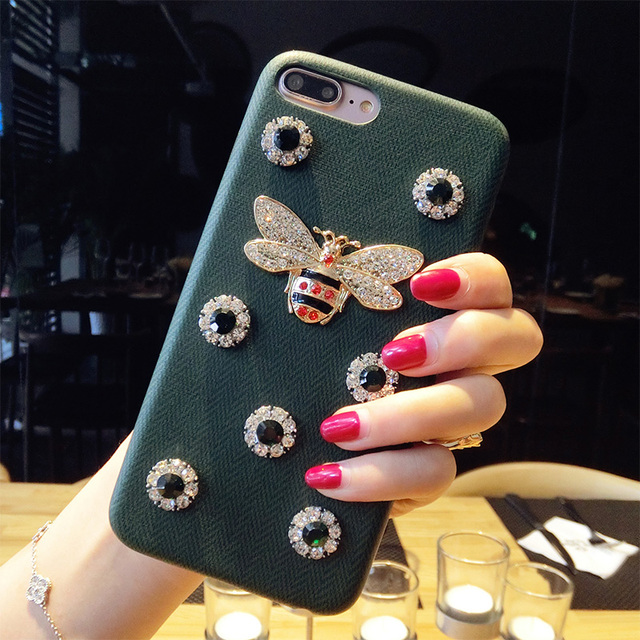 Luxury Leather 3D Metal Bee Pearl Phone Cases For iphone 7 PU Material Fashion Fundas For iPhone 7 6 6S Plus 7P Back Cover Coque