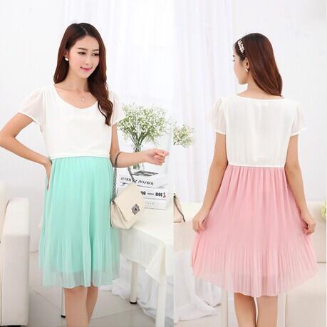 4eda5b4ab05 Green Pink Maternity Breastfeeding Dress for Pregnant Women Summer Dresses  Postpregnancy Breast Feeding Dress Chiffon Wholesale. Note please  Most  Pregnant ...