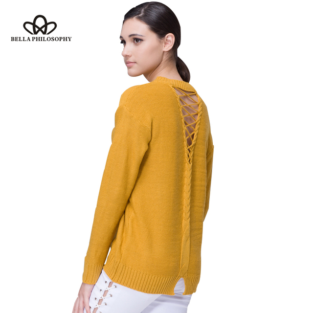 Bella Philosophy 2018 women autumn winter new back lace up hollow out  causal sweater pull over 19d852315