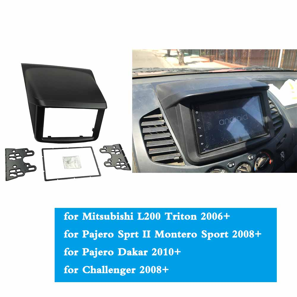 Image 5 - For Mitsubishi Pajero Sport Triton L200 Radio DVD Stereo Panel Dash Mounting Installation Trim Kit Face Frame Fascia with box-in Fascias from Automobiles & Motorcycles