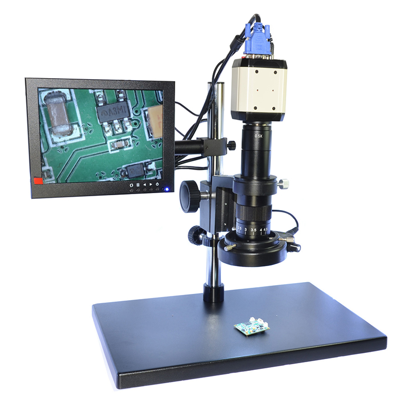 2.0MP HD Digital Microscope Camera VGA USB AV Video Output 180X C-mount Zoom Lens with 144 LED for Industry PCB Lab Inspection 2 0mp 180x hd digital industry microscope camera magnifier vga av tv video output for lab pcb 180x zoom c mount lens