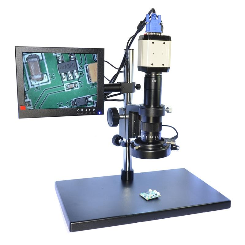 2.0MP HD Digital Microscope Camera VGA USB AV Video Output 180X C-mount Zoom Lens with 144 LED for Industry PCB Lab lucky zoom brand 2 0mp hd digital microscope camera vga usb av video output for industry pcb lab microscopio accessoires