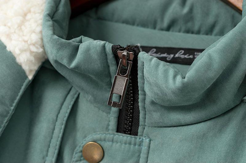 Épais Solide Femelle Manches Plus Coréen Taille La Poches Longues Chaud green Fermeture Longue Capuchon Black Style Femme Parkas À Éclair Hiver pngpqZCrw