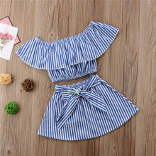 db229f72fc2b Summer Casual Kids Baby Girl Set Clothing Off Shoulder Shirt Crop Tops+Bow  Tie Tutu Skirt 2PCS Children Striped Outfits
