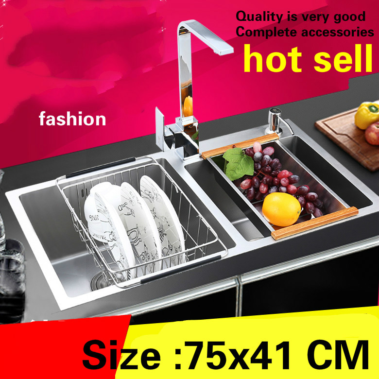 Free Shipping Apartment Kitchen Manual Sink Double Groove Food Grade Durable 304 Stainless Steel Standard Hot Sell 75x41 CM
