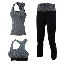 3 Pieces Women Yoga Set Crop Top Shirts sportsbar Legging Capri Pants Sports Sets Gym Running