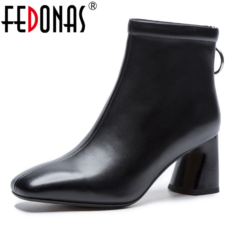 FEDONAS Basic Boots Women Genuine Leather High Heels Ankle Boots Square Toe Fashion Party Club Office Pumps Ladies Short Boots luxury women s square middle heels point toe pumps ankle boots shoe pr1364 black grey genuine sheepskin leather female boots