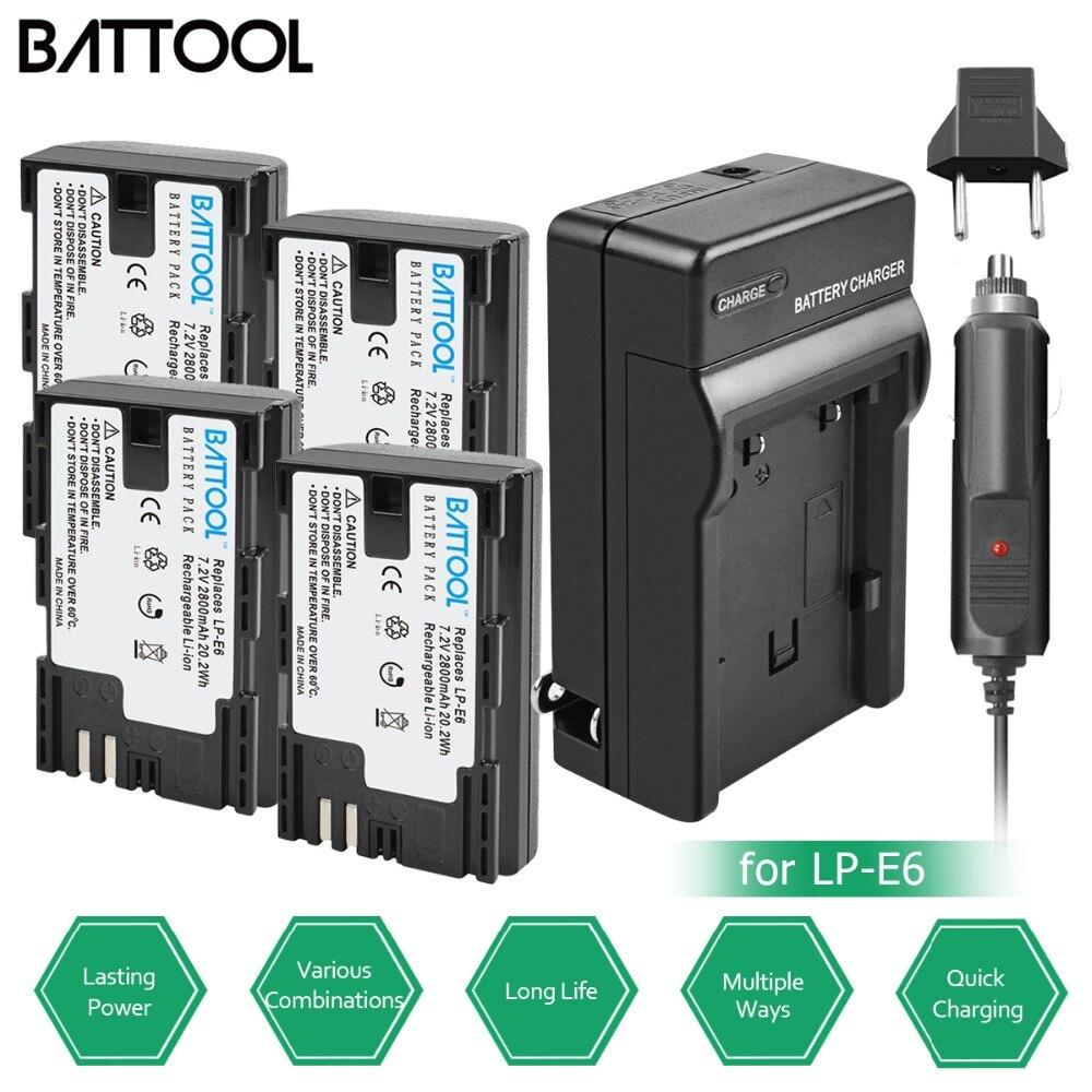 BATTOOL 2.8Ah pour EOS 5D Mark II III IV 6D Mark II batterie + chargeur pour Canon 7D Mark II appareil photo pour Canon 6D 60D 60Da 70D 80D