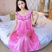 Women Nightwear Ice Silk Satin Nightgowns for Women ,Nightdress Sexy Sleepwear Night Sleeping Dress Night Gown