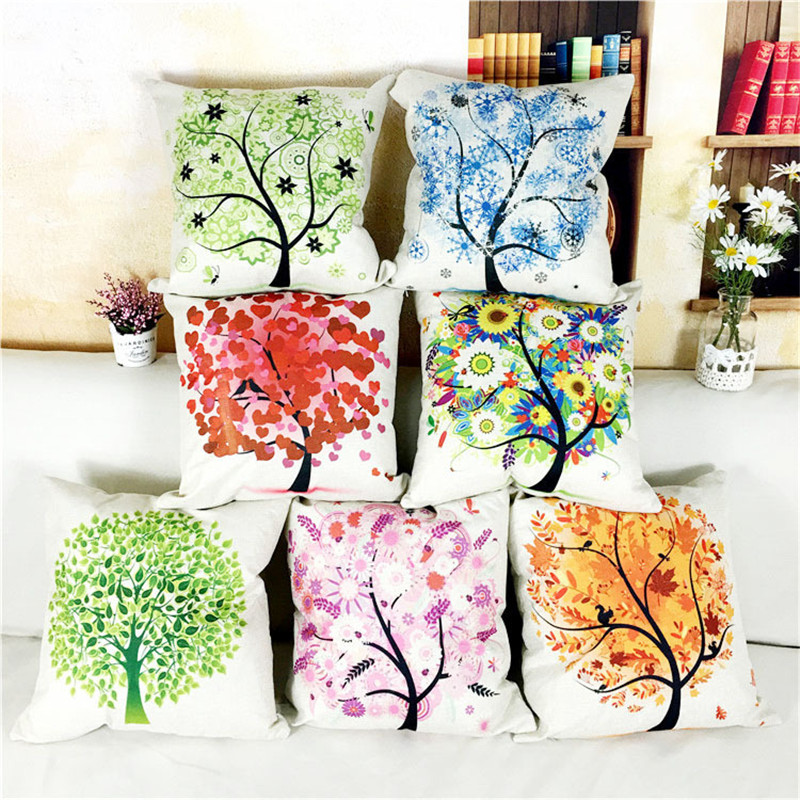 wholesale high quality decor office pillowcase Colorful life tree green orange yellow red tree home car sofa cushion cover